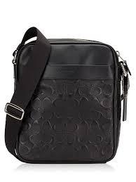 Coach Men 11741 Signature Crossgrain Embossed Flight Bag Black