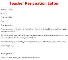 Letters For A Teacher Resignation Letters Teachers Cover Letter Samples Cover