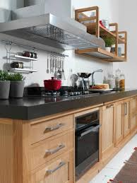 Kitchen Wall Racks And Storage Hanging Pots On Kitchen Wall Under Exhaust Beside Diy Wood Wall