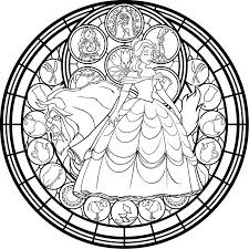 Belle Stained Glass Vector Coloring Page