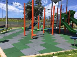 unity on hawaii military base community playground using pigmented play tiles