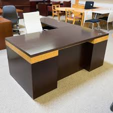 used ofs left lshaped executive office desk walnut u0026 maple burl del1586 office desk walnut90 walnut