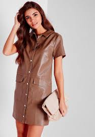 missguided faux leather on through shirt dress