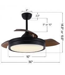 36 42 black ceiling fan with light
