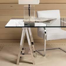 mason glass top desk polished nickel williams sonoma large glass desk