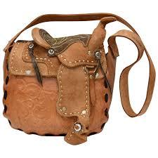 rare unusual stamped mexico tooled genuine leather saddle bag purse