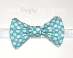 Fabric Bow Blue With White Polka Dots Cotton