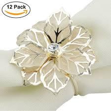 Elinq Set of 12 Hollow Out Flower Napkin Ring Handmade Serviette Buckle  Holder For Wedding,