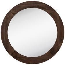 dark brown round wood wall mirror