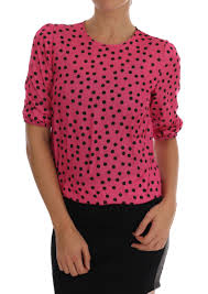 Dotted Tops Designs Details About Dolce Gabbana Pink Polka Dotted Silk Womens Blouse