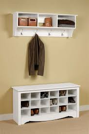 Wall Storage Cabinet White Wooden Painted Bench Shoe Organizer Under Wall Mount Coat