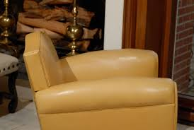 handsome art deco club chairs in yellow ochre leather for 4