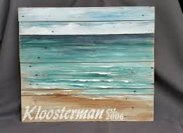 distressed wood beach wall art