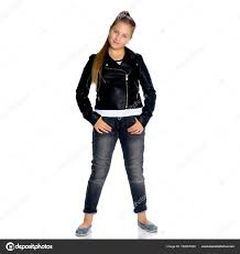 a teenage girl in a leather jacket and jeans stock image