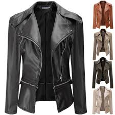 details about plus size women s pu leather motorcycle jacket biker coat zip up fashion outwear