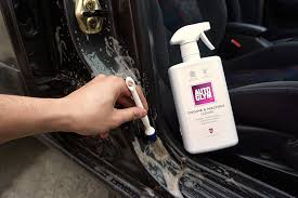 to remove the cleaning solution simply use a concentrated jet hose and hose away the solution away from the car