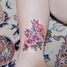 Watercolour Tattoo With Flower And Colour