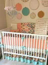 mint and pink crib bedding tribal crib bedding baby girl in peach mint and gold with