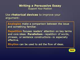 mini workshop writing a persuasive essay assignment choose an  writing a persuasive essay support your position use rhetorical devices to improve your argument analogies