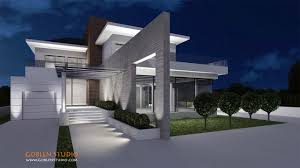 view modern house lights.  House 3D Architectural Exterior Of Luxury Modern Suburban House Night View For View Modern House Lights E