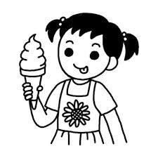 ソフトクリーム夏の食べ物夏のイラスト無料白黒イラスト素材