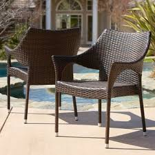 brown wicker outdoor furniture dresses: cliff outdoor wicker chairs set of  by christopher knight home