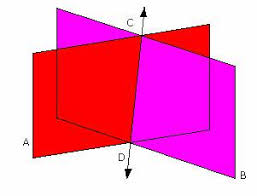 intersecting planes. line. intersecting planes o
