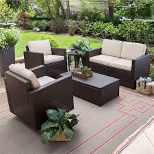 Outdoor wicker resin 4 piece patio furniture dinning set with 2 chairs loveseat and coffee table fastfurnishings com