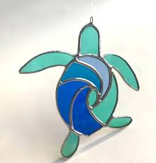 turtle stained glass handmade surfing image 0 lamp pattern