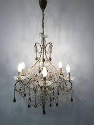vintage murano glass crystal beaded macaroni chandelier 2