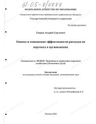 Диссертация на тему Оценка и повышение эффективности расходов на  Диссертация и автореферат на тему Оценка и повышение эффективности расходов на персонал в организациях