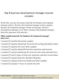 Top 8 Business Development Manager Resume Samples