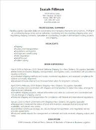 Logistics Resumes Professional Free Sample Resume For Logistics Resume Sample 100 55