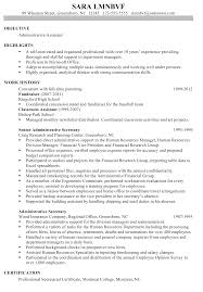 Resume Format Examples Chronological Sample Administrative Assistant