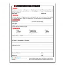 Harassment Incident Report Form From Laborlawcenter Com