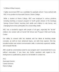 Writing A Letter Of Recommendation For Graduate School From Employer