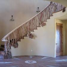 tree branch banisters | tree branch style staircase with Red Shank wood,  custom fabricated log