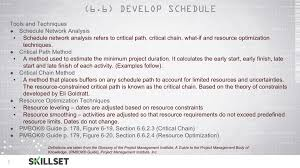 what is the difference between the earliest and latest dates t45 develp schedule inputs tools and techniques