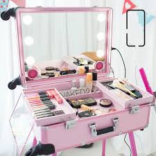 2016 new big type led multia makeup box usb bluetooth speakers trolley beauty case with legs led lights lighted makeup box