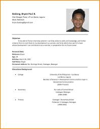 Prepossessing Resume Format For Job Application Philippines For