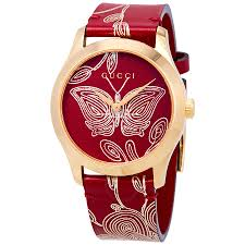gucci g timeless red dial uni leather watch ya1264054