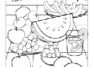 Coloring page illustration of fruits. Food Coloring Pages Printables Education Com