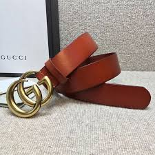 gucci leather belt with golden double g buckle