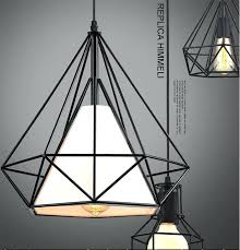 vintage cage pendant lights warehouse black diamond lamp creative restaurant light hanging penda
