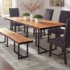 dining tables room table with bench and chairs scott living natural honey wood live edge antique