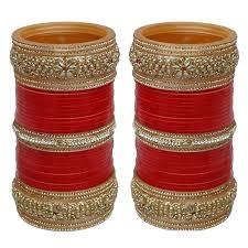 Bridal Chura Design 2018 Lucky Jewellery Red Punjabi Chura Bridal Wedding Bangle Set For Women