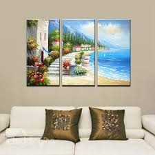 57 picturesque hand paint mediterranean beach 3 panel framed wall art prints on 3 panel wall art beach with picturesque hand paint mediterranean beach 3 panel framed wall art