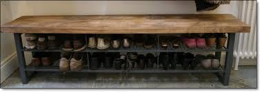 reclaimed oak furniture. reclaimed oak bench with custom steel shoe rack furniture
