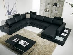 t 35 large u shaped modern black leather sectional sofa with lights
