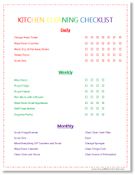 monthly house cleaning schedule template i love this printable a kitchen cleaning checklist that has daily
